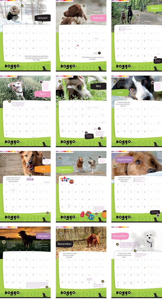 Doggo Kalender 2018 Maanden