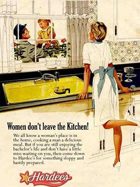 Vrouw hoort in de keuken